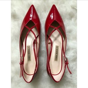 Zara red kitten heels